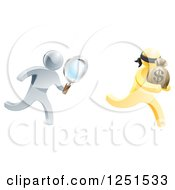 Clipart Of A 3d Silver Detective Chasing A Gold Robber With A Magnifying Glass Royalty Free Vector Illustration by AtStockIllustration