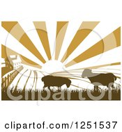 Clipart Of A Sunrise Over A Brown Silhouetted Farm House With Sheep And Fields Royalty Free Vector Illustration
