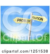 Clipart Of Problem And Solution Directional Signs Over Sunrise Royalty Free Vector Illustration by AtStockIllustration