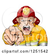 Clipart Of A Mad Fireman Pointing Outwards And Shouting Royalty Free Vector Illustration