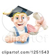 Clipart Of A Brunette Male Plumber Graduate Holding A Certificate And Plunger Royalty Free Vector Illustration by AtStockIllustration