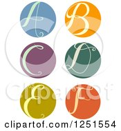 Clipart Of A Round Cursive Letters A Through F Royalty Free Vector Illustration