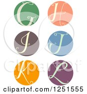 Clipart Of A Round Cursive Letters G Through L Royalty Free Vector Illustration
