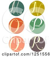 Clipart Of A Round Cursive Letters M Through R Royalty Free Vector Illustration