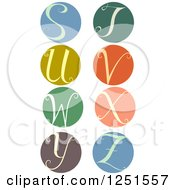 Clipart Of A Round Cursive Letters S Through Z Royalty Free Vector Illustration