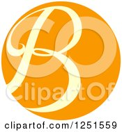Clipart Of A Round Orange Circle With Capital Letter B Royalty Free Vector Illustration