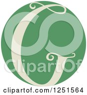 Clipart Of A Round Green Circle With Capital Letter G Royalty Free Vector Illustration