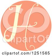 Clipart Of A Round Pink Circle With Capital Letter H Royalty Free Vector Illustration