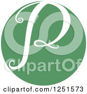 Clipart Of A Round Green Circle With Capital Letter P Royalty Free Vector Illustration