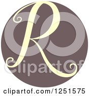 Clipart Of A Circle With Capital Letter R Royalty Free Vector Illustration