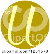 Clipart Of A Round Green Circle With Capital Letter U Royalty Free Vector Illustration