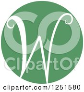Clipart Of A Round Green Circle With Capital Letter W Royalty Free Vector Illustration