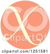 Clipart Of A Round Pink Circle With Capital Letter X Royalty Free Vector Illustration