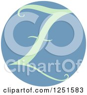 Clipart Of A Round Blue Circle With Capital Letter Z Royalty Free Vector Illustration
