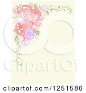 Clipart Of A Vintage Background With A Corner Border Of Flowers Royalty Free Vector Illustration