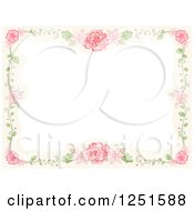 Clipart Of A Vintage Boder Of Vines And Pink Flowers Royalty Free Vector Illustration