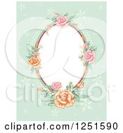 Clipart of a Vintage Oval Rose Frame on Green - Royalty Free Vector Illustration by BNP Design Studio