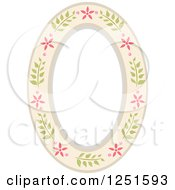 Clipart Of A Shappy Chick Oval Floral Frame Royalty Free Vector Illustration