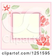 Clipart Of A Shappy Chick Square Floral Frame Royalty Free Vector Illustration