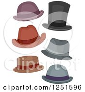 Clipart Of Mens Hats Royalty Free Vector Illustration