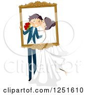 Clipart Of A Wedding Couple Kissing And Holding A Frame Royalty Free Vector Illustration by BNP Design Studio
