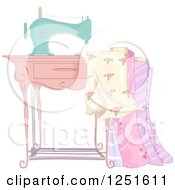 Clipart Of A Vintage Sewing Machine With Fabric Royalty Free Vector Illustration