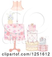 Clipart Of A Vintage Table With A Stack Of Gift Boxes Royalty Free Vector Illustration