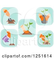 Clipart Of Blue Square Planting And Gardening Icons Royalty Free Vector Illustration