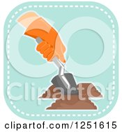 Clipart Of A Blue Square Digging Planting And Gardening Icon Royalty Free Vector Illustration