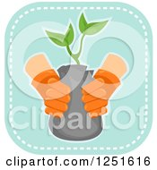 Clipart Of A Blue Square Planting Icon Royalty Free Vector Illustration