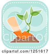 Clipart Of A Blue Square Planting And Gardening Icon Royalty Free Vector Illustration