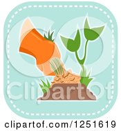 Clipart Of A Blue Square Weeding Or Planting And Gardening Icon Royalty Free Vector Illustration