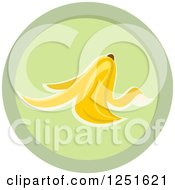 Clipart Of A Round Green Banana Peel Composing Icon Royalty Free Vector Illustration