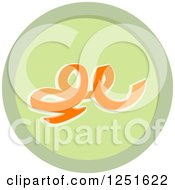 Clipart Of A Round Green Carrot Peel Composing Icon Royalty Free Vector Illustration