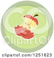 Clipart Of A Round Green Apple Core Composing Icon Royalty Free Vector Illustration by BNP Design Studio