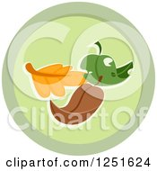 Clipart Of A Round Green Leaf Composing Icon Royalty Free Vector Illustration
