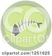 Clipart Of A Round Green Fish Bone Composing Icon Royalty Free Vector Illustration