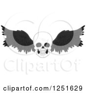 Clipart Of A Skull With Black Feathered Wings Royalty Free Vector Illustration