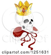 Human Skull With A Kings Crown And Cape