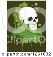 Clipart Of A Human Skull With Green Drops And A Banner Royalty Free Vector Illustration