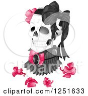 Clipart Of A Human Skull With A Victorian High Neck Collar Flowers And Bow Royalty Free Vector Illustration