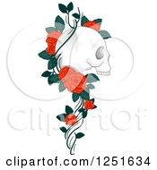 Clipart Of A Human Skull With A Rose Vine Royalty Free Vector Illustration