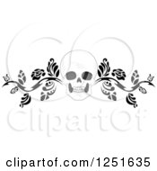 Clipart Of A Human Skull With A Black Floral Vine Royalty Free Vector Illustration
