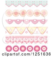 Clipart Of Shappy Chic Lace And Floral Rule Borders Royalty Free Vector Illustration