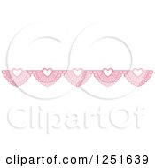 Clipart Of A Shappy Chic Pink Lace Heart Rule Border Royalty Free Vector Illustration
