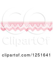 Clipart Of A Shappy Chic Pink Lace Rule Border Royalty Free Vector Illustration