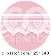 Clipart Of A Round Shappy Chic Pink Lace Icon Royalty Free Vector Illustration