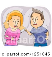 Clipart Of A Mad Couple Arguing Royalty Free Vector Illustration