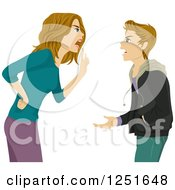 Clipart Of A Mother Arguing With Her Teenage Son Royalty Free Vector Illustration
