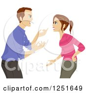 Clipart Of A Father Arguing With His Teenage Daughter Royalty Free Vector Illustration